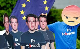 欧州ではフェイスブックに対する批判が相次いでいる(5月、ブリュッセル)
