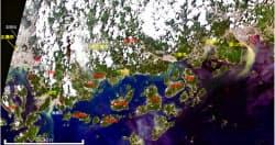 米地質調査所(USGS)の衛星画像を加工した9日午前の広島県周辺の様子=広島大・作野准教授提供