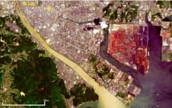 米地質調査所(USGS)の衛星画像を加工した9日午前の広島県福山市・芦田川河口周辺の様子=広島大・作野准教授提供