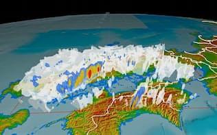 6日午後7時ごろの中国地方の雨雲の状況。雨が強い順に赤、黄色、青、白となっている(防災科学技術研究所提供)