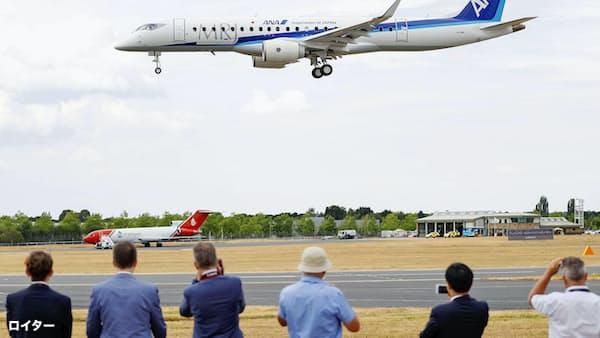 MRJ、初の飛行展示に成功 英航空ショーで披露