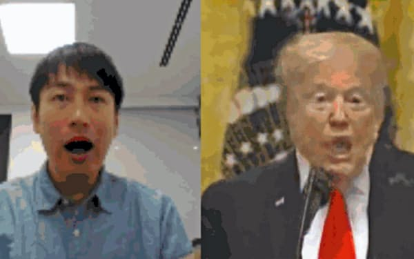 日経のスタッフが試作したトランプ米国大統領の合成動画