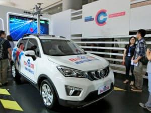 百度が中国自動車大手と組んで公開した自動運転の実験車両(2017年7月)