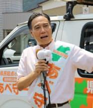阿部氏は第一声の場所に「政治の原点」という栄村を選んだ