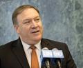 米ニューヨークの国連本部で記者団の質問に答えるポンペオ米国務長官=AP