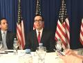 G20会議前に記者団の質疑に応じたムニューシン米財務長官(21日朝、ブエノスアイレス)