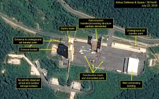 解体が始まったとみられる北朝鮮の「西海衛星発射場」の22日付け商業衛星写真=38ノースとエアバス・ディフェンス・アンド・スペース提供