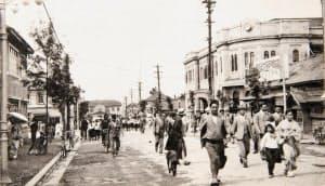 日本統治下だった戦前の南樺太・豊原市内=全国樺太連盟提供