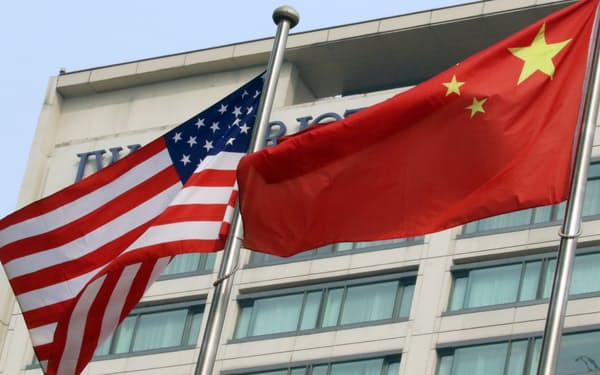 中国と米国の国旗(北京)