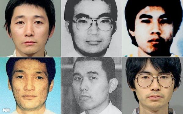 (上段左から)岡崎一明、横山真人、端本悟、(下段左から)林泰男、豊田亨、広瀬健一死刑囚(共同)