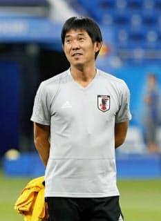 サッカー日本代表の新監督に決まった森保一氏。ロシアW杯では西野監督の下でコーチを務めた=共同