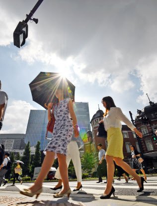 強い日差しの下、通勤する人たち(31日午前、東京・丸の内)