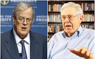 チャールズ(右)とデイビッドのコーク兄弟は、合わせて1200億ドルの資産を持つ=AP
