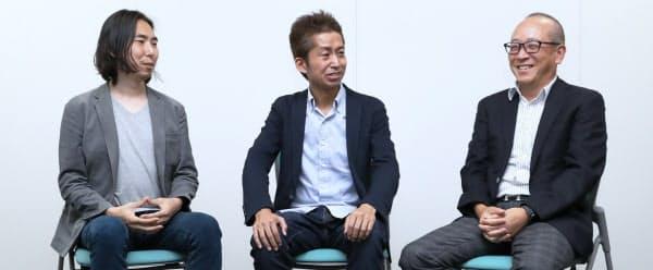 提携の狙いを話す(左から)ピースオブケイクの深津貴之CXO、加藤貞顕CEO、日本経済新聞社の渡辺洋之常務