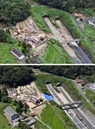 土砂崩れの被害を受けた7月8日(上)と、8月3日の山陽自動車道志和トンネル出入り口付近=広島県東広島市(共同通信社ヘリから)