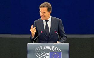 新ハンザ同盟を主導するオランダのルッテ首相(6月13日、仏ストラスブール)=ロイター通信