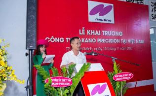 工場の開所式で挨拶するベトナム子会社のホー・ダン・ナム社長(2017年11月、ベトナム・ホーチミン)