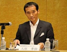 事業説明会に出席した大原社長(13日、都内)