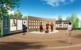 杉原氏がビザを渡す場面をイメージしたブロンズ像などを展示する(愛知県教育委員会提供)