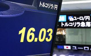 急落したトルコリラの円相場を示すモニター(13日、東京都港区の外為どっとコム)