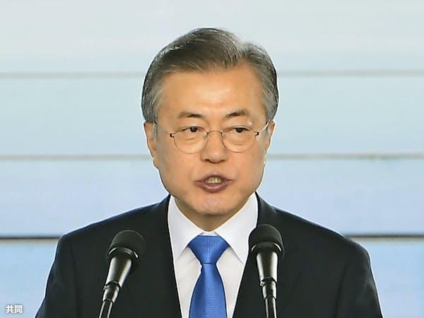 韓国の文在寅大統領=共同