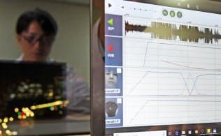ヒカリラボの心理カウンセリングはビデオ通話の映像から表情をAIで分析する。感情の起伏が波形に表れる=寺沢将幸撮影