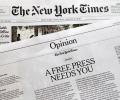 米ニューヨーク・タイムズ紙は地元紙を購読することで報道の自由を支援するよう読者に呼びかけた=AP