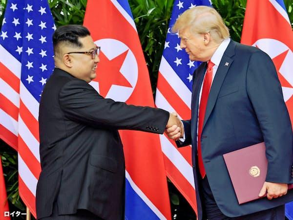 首脳会談で握手するトランプ米大統領と北朝鮮の金正恩委員長(6月12日、シンガポール)=ロイター