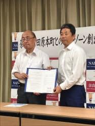 連携協定を締結した荒井正吾奈良県知事(左)と森章浩田原本町長(右)