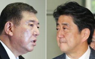 安倍首相(写真右)と石破元幹事長