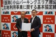 基本協定を締結した鵜飼社長(右)と込山町長(27日、静岡県小山町)