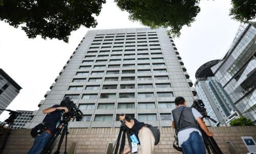 警視庁が家宅捜索に入った安藤ハザマの本社が入るビル(28日午前、東京都港区)