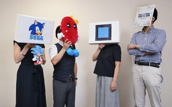 対談する(左から)セガ、井村屋、キングジム、タニタのツイッター担当者