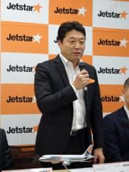 片岡社長は都内で開いた事業説明会で新規路線の開設を明らかにした