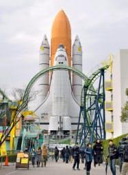 解体される見通しとなったスペースシャトルの実物大模型(2017年12月、北九州市)=共同