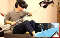 棒状装置の両端にプロペラをつけた(稲見教授提供、右下は人の目に映る映像)