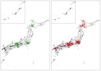 アライグマの生息情報場所を点で示す分布域。2005~06年の前回調査時(左)と比べ、10~17年の今回は大きく広がった=環境省提供・共同