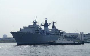 英海軍旗艦の揚陸艦アルビオン(8月3日、東京・晴海)