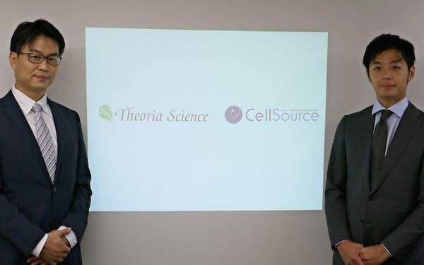 テオリアサイエンスの水谷隆之社長(左)とセルソースの裙本理人社長
