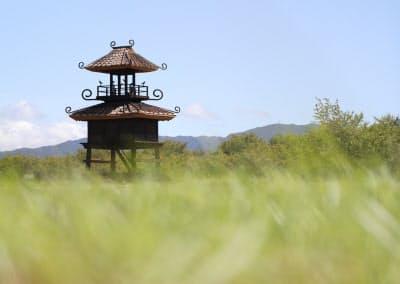 公園にそびえる楼閣。出土した土器に描かれた姿から復元した(奈良県田原本町)