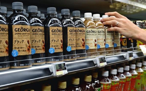 新商品「ジョージア ジャパンクラフトマン」をスーパーやコンビニ向けに優先して納品(東京都葛飾区のいなげや金町店)