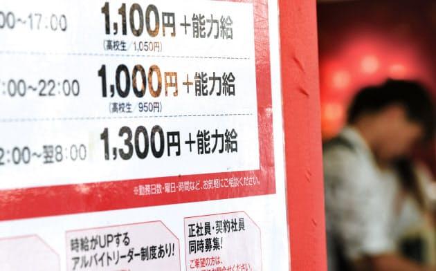 最低賃金の目安が10月から引き上げられ、東京と神奈川では1000円を突破する