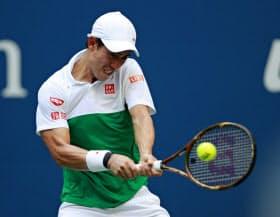 男子シングルス準々決勝でマリン・チリッチを破り、4強入りを果たした錦織圭(5日、ニューヨーク)=共同)