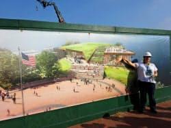 来年5月にオープンする自由の女神博物館の完成イメージ(6日、ニューヨーク)