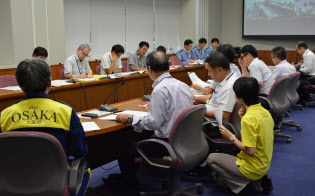 台風21号で設置された大阪府の防災・危機管理指令部(7日、大阪市中央区)