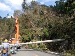 関西電力は停電の復旧作業を急ぐ(5日、京都市西京区)=同社提供