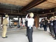 建物内部の施工現場を報道陣に公開した