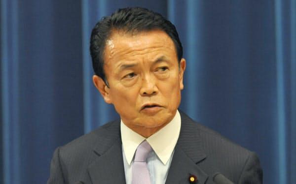 記者会見する麻生首相(2008年9月24日、首相官邸)
