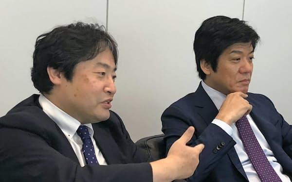 フロンティア・マネジメントは大西正一郎氏(左)と松岡真宏氏が代表取締役として2人でトップを担う