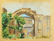 平山郁夫さんの未公開作品の一つ、サマルカンドを描いた「シルク・ロードの遺跡」(柏市教育委員会提供)=共同